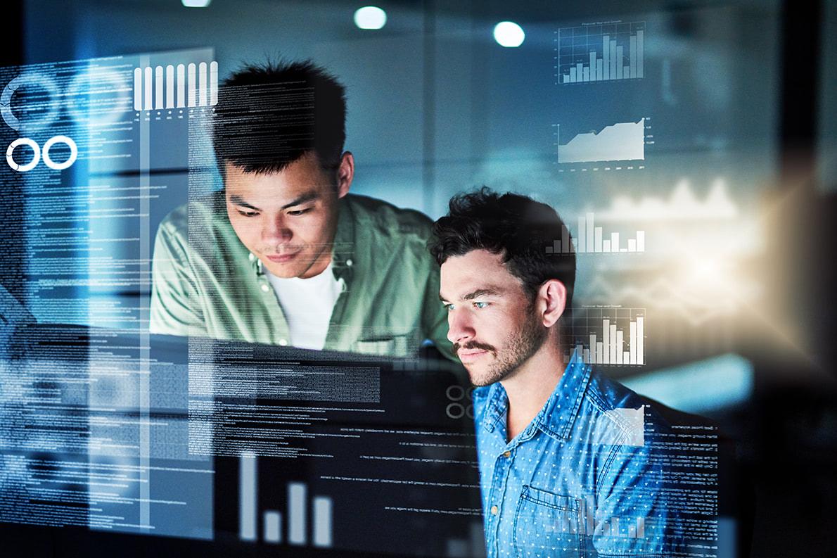 two men coding