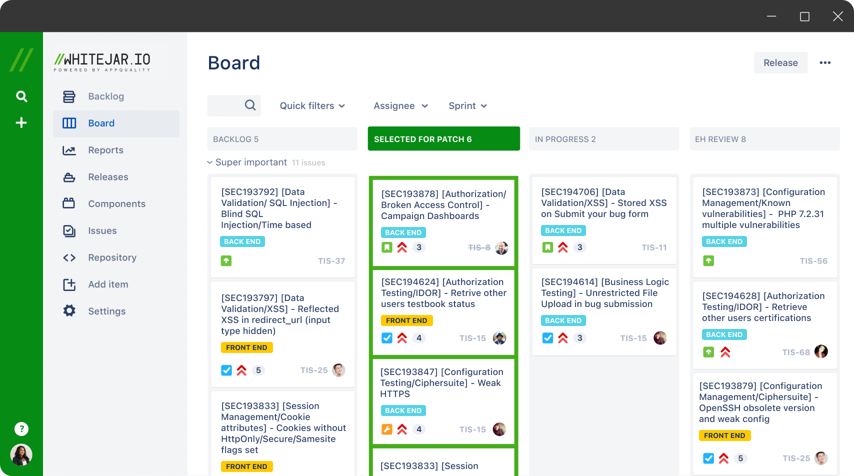 Screen board Vulnerabilities Tracking
