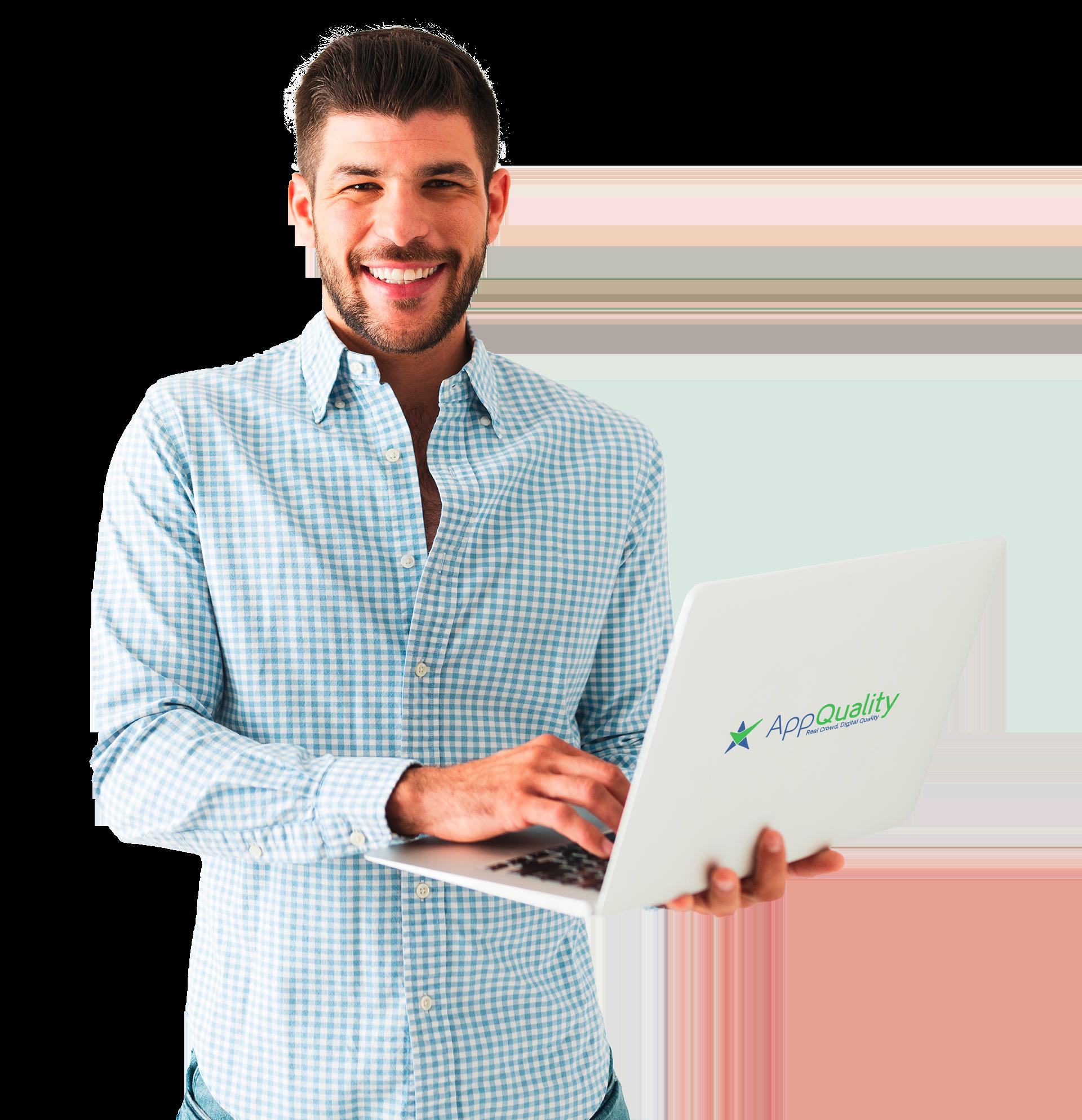 caucasian man with laptop